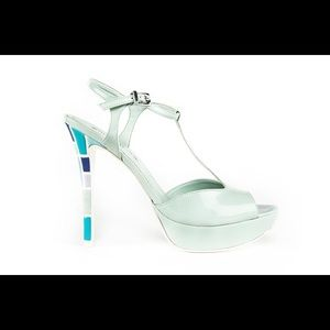 Top Heels Co Crystal Light Green Sandals